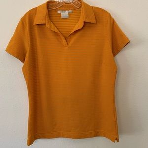 Nike Golf Fit Dry Orange Striped V-Neck Shirt - L
